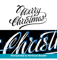 merry christmas lettering calligraphy vector image
