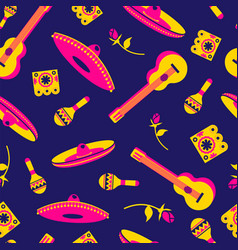 Mexican culture icon seamless pattern background vector
