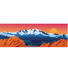 Mountains valley and red rocks scenic landscape vector