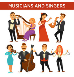 Musicians with instrument and elegant singers vector