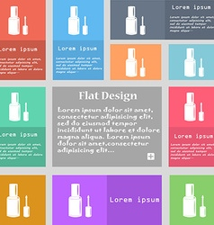 NAIL POLISH BOTTLE icon sign Set of multicolored vector