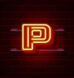 Neon city font letter p signboard vector
