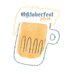 oktoberfest sign and beer glass modern brush icon vector image