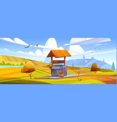 old stone well with drinking water on autumn hill vector image