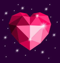 origami heart red color with stars vector image
