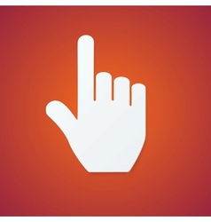 Paper Hand Cursor on Orange Background vector image