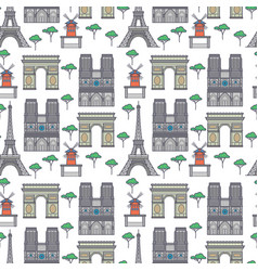 paris landmarks seamless pattern vector image