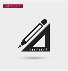 pencil with ruler icon simple school element vector image