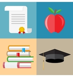 Pile of books graduation cap diploma apple vector