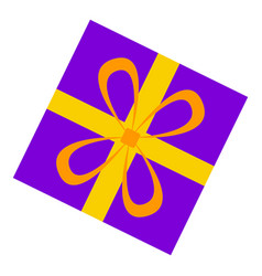 purple gift box icon flat style vector image