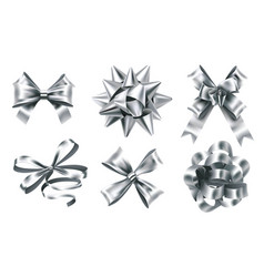 realistic silver foil bows decorative bow vector image