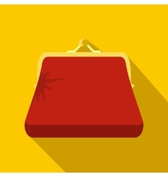 Retro red purse icon flat style vector image