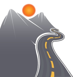Road mountains and sun vector image vector image