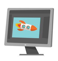 rocket flying out of laptop screen cartoon vector image