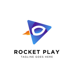 rocket play logo design vector image