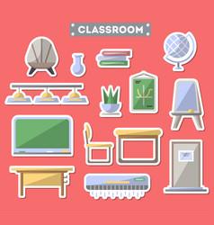 School classroom furniture icon set vector