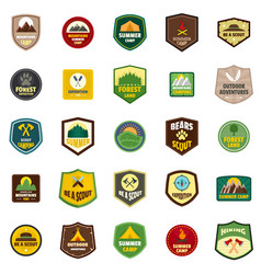 Scout badge emblem stamp icons set flat style vector