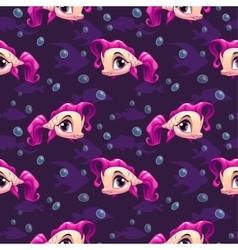 Seamless pattern with cute cartoon girl fish vector