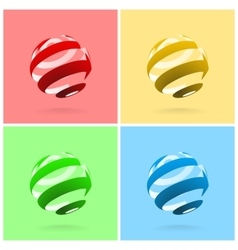 set abstract globe rotating arrows vector image