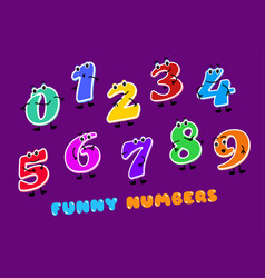 set of funny cartoon numbers characters kids vector image