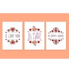 Set of Saint Valentines day hand drawn greeting vector