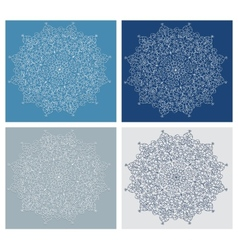 Set of vintage snowflake on blue background vector image