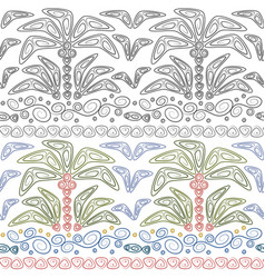 set seamless patterns with palms and waves vector image