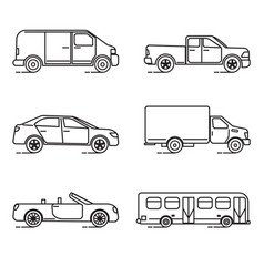 set thin line transportation icons vector image
