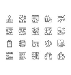 set voting and elections line icons politician vector image