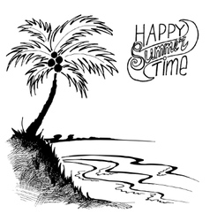 sketch of a beach with palm tree vector image
