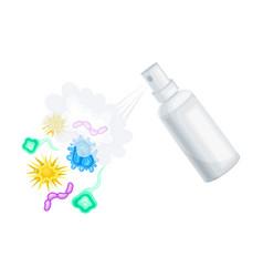 Spraying detergent aerosol bottle killing microbes vector