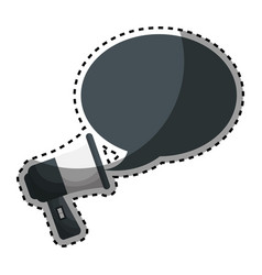 Sticker megaphone with bubble callout box vector