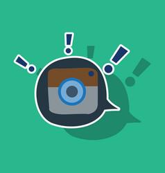 Sticker web icon of modern lineart camera digital vector