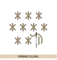 Stitches ermine filling stich type vector