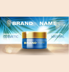 Summer cosmetic face cream ads with bottle product vector