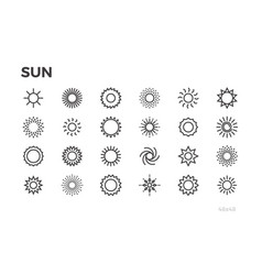 Sun icons star sunny weather rays and other vector