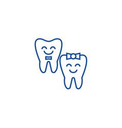 teeth carehappy tooth line icon concept teeth vector image