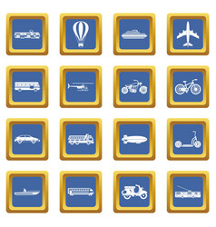 transportation icons set blue vector image
