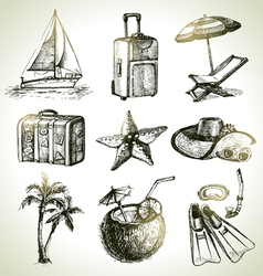 Travel set hand drawn objects vector image