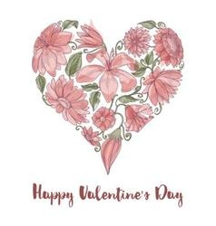 Valentine Day floral heart shape vector