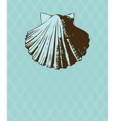 Vintage card with hand drawn shell vector