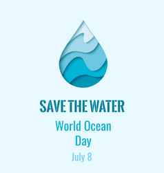 World ocean day - waterdrop banner vector
