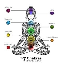 Yoga lotus pose meditating woman icon vector