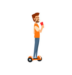 young man riding a gyroscope with cup of soda vector image