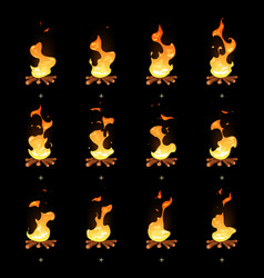 cartoon bonfire flame animated sprites vector image vector image