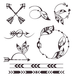 Feather and arrows vector image