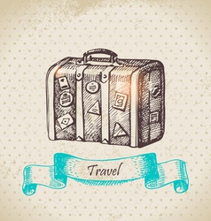 Hand drawn vintage background with travel suitcas vector image