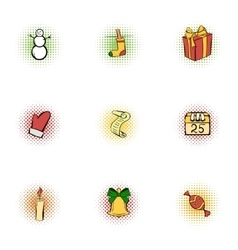 New year icons set pop-art style vector image vector image