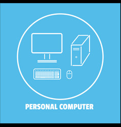 personal computer icon isolated background vector image