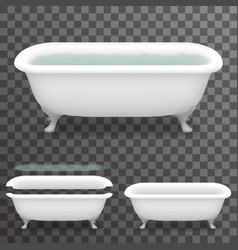 retro bath with water realistic 3d parallax vector image